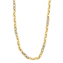 CHAIN: [1] 14k yellow and white gold chain, 34 inches long, 6.8mm diameter; (234) round brilliant cu