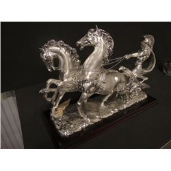 SCULPTURE: Roman Chariot with two horses, silvertone patina. No markings found noted on previous rep