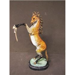 SCULPTURE: Painted bronze rearing horse, signed Marius in the mold; on verdigris and marble base. 26