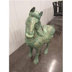 SCULPTURE: Decorative large Chinese bronze Tang-style horse with gold scrolling accents; standing fo