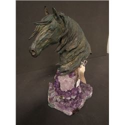 SCULPTURE: Bronze bust of a horse mounted on amethyst, titled Storm with Amethyst from the Vidal Col
