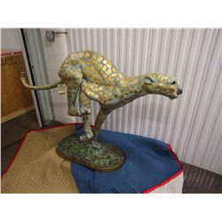 SCULPTURE: Bronze Running Cheetah with gilded spots. No markings found noted on previous report. 40""