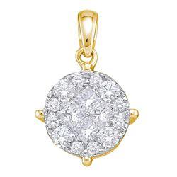 2 CTW Princess Diamond Soleil Cluster Pendant 14KT Yellow Gold - REF-262X4Y
