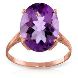 Genuine 7.55 ctw Amethyst Ring Jewelry 14KT Rose Gold - REF-45F3Z