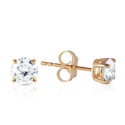 Genuine 0.70 ctw Diamond Anniversary Earrings Jewelry 14KT Yellow Gold - REF-174Y8F