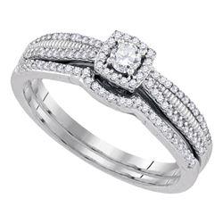 0.33 CTW Diamond Halo Bridal Engagement Ring 10KT White Gold - REF-37K5W