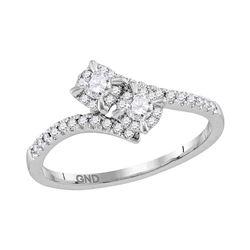 0.33 CTW Diamond 2-stone Bridal Wedding Engagement Ring 14KT White Gold - REF-43W4K