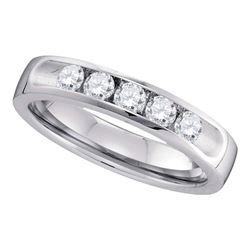 0.50 CTW Diamond Single Row Wedding Ring 14KT White Gold - REF-89K9W