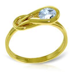 Genuine 0.65 ctw Aquamarine Ring Jewelry 14KT Yellow Gold - REF-49Y2F