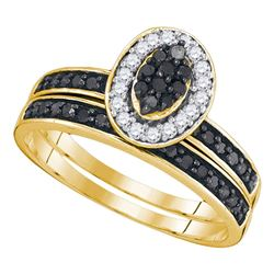 0.50 CTW Black Color Diamond Cluster Bridal Ring 10KT Yellow Gold - REF-25H4M
