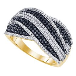 0.75 CTW Black Color Diamond Cocktail Ring 10KT Yellow Gold - REF-67H4M