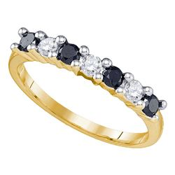 0.50 CTW Black Color Diamond Wedding Anniversary Ring 10KT Yellow Gold - REF-26F9N