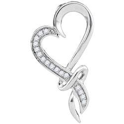 0.10 CTW Diamond Spiral Heart Outline Pendant 10KT White Gold - REF-12X8Y