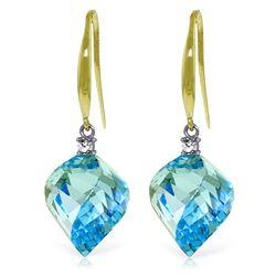 Genuine 27.9 ctw Blue Topaz & Diamond Earrings Jewelry 14KT Yellow Gold - REF-81K5V