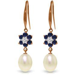 Genuine 9.01 ctw Sapphire, Pearl & Diamond Earrings Jewelry 14KT Rose Gold - REF-46M7T