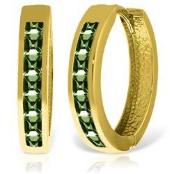 Genuine 1.85 ctw Green Sapphire Earrings Jewelry 14KT Yellow Gold - REF-64Y6F