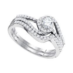 0.50 CTW Diamond Swirl Bridal Engagement Ring 10KT White Gold - REF-52Y4X