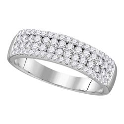 0.78 CTW Pave-set Diamond Double Two Row Ring 10KT White Gold - REF-52F4N