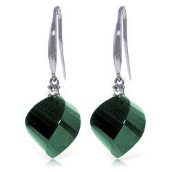 Genuine 30.6 ctw Green Sapphire Corundum & Diamond Earrings Jewelry 14KT White Gold - REF-51T9A