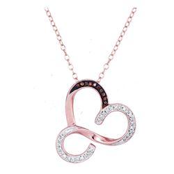 0.13 CTW Red Color Diamond Heart Love Pendant 10KT Rose Gold - REF-18M2H