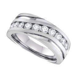 0.50 CTW Mens Diamond Wedding Ring 10KT White Gold - REF-59Y9X