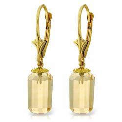 Genuine 9 ctw Citrine Earrings Jewelry 14KT Yellow Gold - REF-25K6V