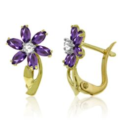 Genuine 1.10 ctw Amethyst & Diamond Earrings Jewelry 14KT Yellow Gold - REF-36Y3F