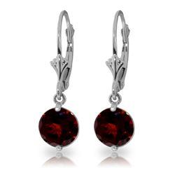 Genuine 3.1 ctw Garnet Earrings Jewelry 14KT White Gold - REF-34K3V