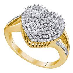 0.50 CTW Diamond Heart Love Cluster Ring 10KT Yellow Gold - REF-41H3M