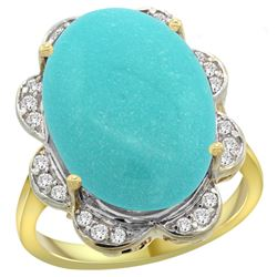 Natural 13.83 ctw turquoise & Diamond Engagement Ring 14K Yellow Gold - REF-160N3G