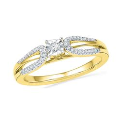 0.16 CTW Diamond Solitaire Bridal Engagement Ring 10KT Yellow Gold - REF-22Y4X