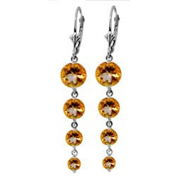 Genuine 7.8 ctw Citrine Earrings Jewelry 14KT White Gold - REF-46X3M