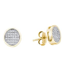0.14 CTW Diamond Circle Cluster Earrings 10KT Yellow Gold - REF-22F4N