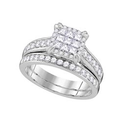 1.01 CTW Princess Diamond Cluster Bridal Engagement Ring 14KT White Gold - REF-116F8N