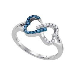 0.15 CTW Blue Color Diamond Heart Love Ring 10KT White Gold - REF-14M9H