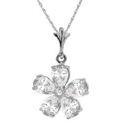 Genuine 2.22 ctw White Topaz & Diamond Necklace Jewelry 14KT White Gold - REF-23R5P