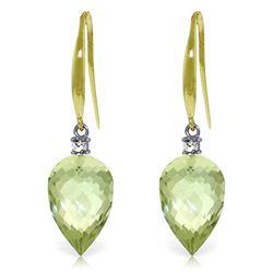 Genuine 19.1 ctw Green Amethyst & Diamond Earrings Jewelry 14KT Yellow Gold - REF-41M3T