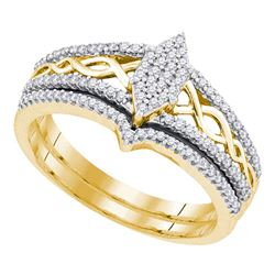 0.33 CTW Diamond Oval Cluster Bridal Engagement Ring 10KT Yellow Gold - REF-37K5W