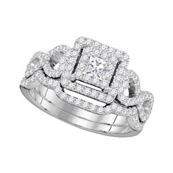 0.85 CTW Princess Diamond Woven Bridal Wedding Engagement Ring 14KT White Gold - REF-104X9Y
