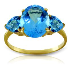 Genuine 4.2 ctw Blue Topaz Ring Jewelry 14KT Yellow Gold - REF-38N6R