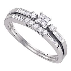 0.32 CTW Princess Diamond Slender Bridal Engagement Ring 10KT White Gold - REF-26Y9X
