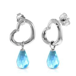 Genuine 4.5 ctw Blue Topaz Earrings Jewelry 14KT White Gold - REF-42K6V