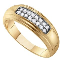 0.25 CTW Mens Diamond Double Row Wedding Ring 10KT Yellow Gold - REF-37M5H