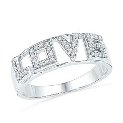 0.16 CTW Diamond Love Ring 10KT White Gold - REF-19N4F