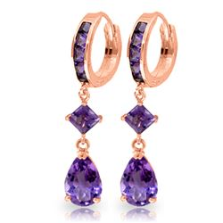 Genuine 5.62 ctw Amethyst Earrings Jewelry 14KT Rose Gold - REF-62V7W