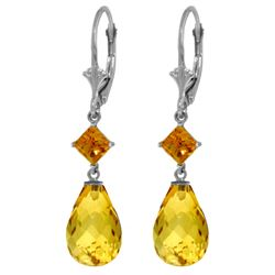 Genuine 11 ctw Citrine Earrings Jewelry 14KT White Gold - REF-39A3K