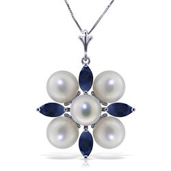 Genuine 6.3 ctw Sapphire & Pearl Necklace Jewelry 14KT White Gold - REF-63K4V