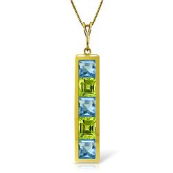 Genuine 2.25 ctw Blue Topaz & Peridot Necklace Jewelry 14KT Yellow Gold - REF-36M9T