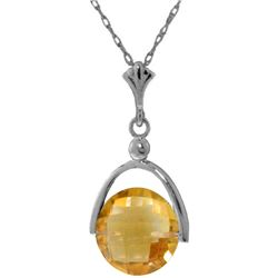 Genuine 3.25 ctw Citrine Necklace Jewelry 14KT White Gold - REF-22V3W