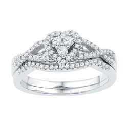0.38 CTW Diamond Heart Bridal Engagement Ring 10KT White Gold - REF-37Y5X